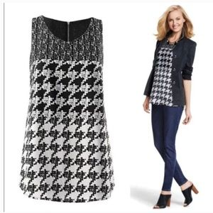 CAbi Style 3090 Broken Check Houndstooth Top Sz L